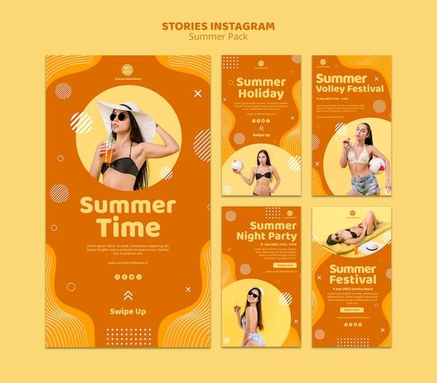 Coleção de histórias do instagram para férias de verão