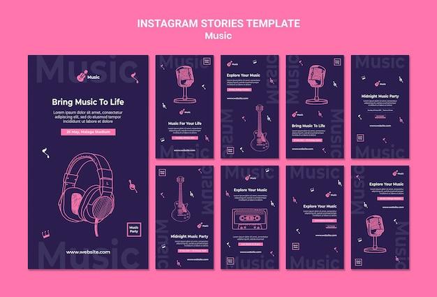 Coleção de histórias do instagram para festa de música
