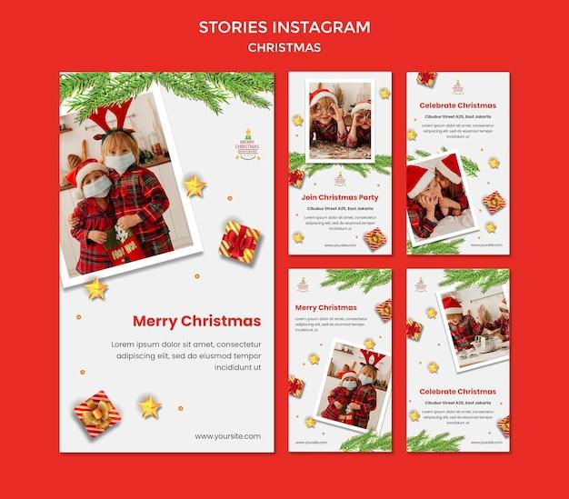 Coleção de histórias do instagram para festa de natal com crianças em chapéus de papai noel