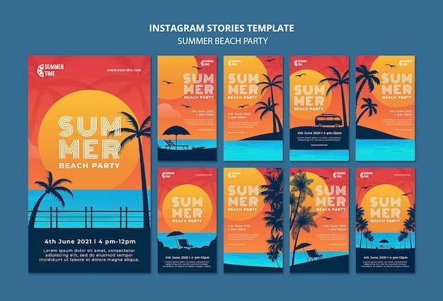 Coleção de histórias do instagram para festa de verão na praia