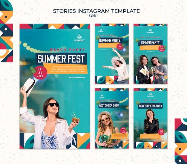 Coleção de histórias do instagram para festa de verão