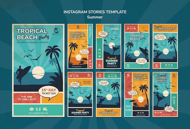 Coleção de histórias do instagram para festa na praia tropical