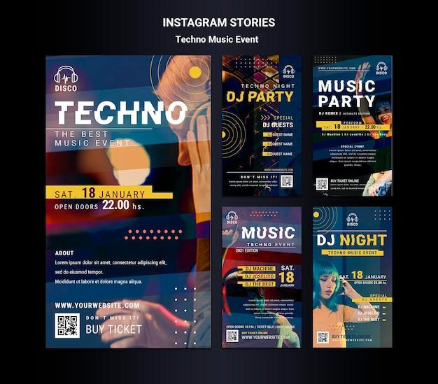 Coleção de histórias do instagram para festa noturna de música techno