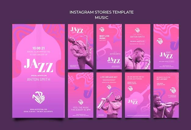 Coleção de histórias do instagram para festival de jazz e clube Psd Premium