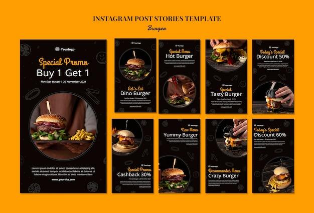 Coleção de histórias do instagram para hambúrguer bistrô