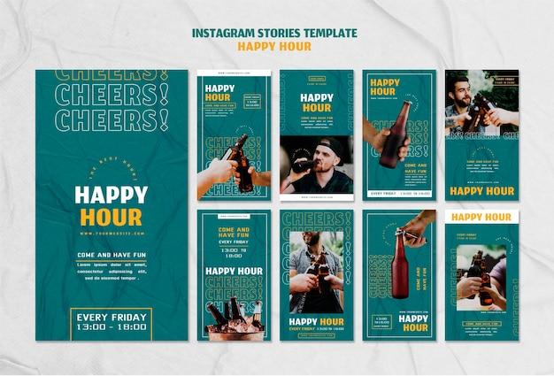 Coleção de histórias do instagram para happy hour