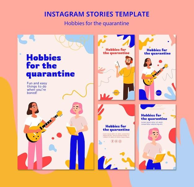 Coleção de histórias do instagram para hobbies durante a quarentena