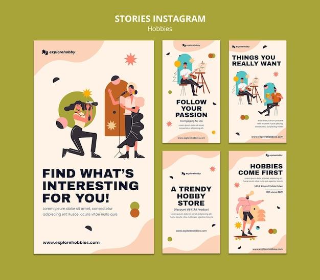 Coleção de histórias do instagram para hobbies e paixões