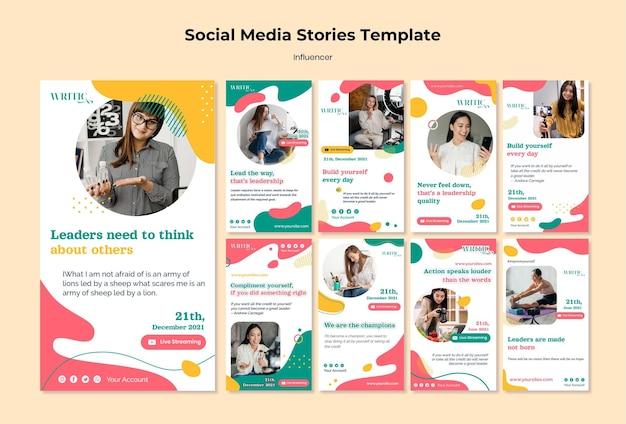 Coleção de histórias do instagram para influenciadora feminina nas redes sociais