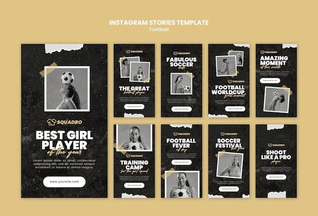 Coleção de histórias do instagram para jogadora de futebol