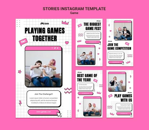 Coleção de histórias do instagram para jogar videogame