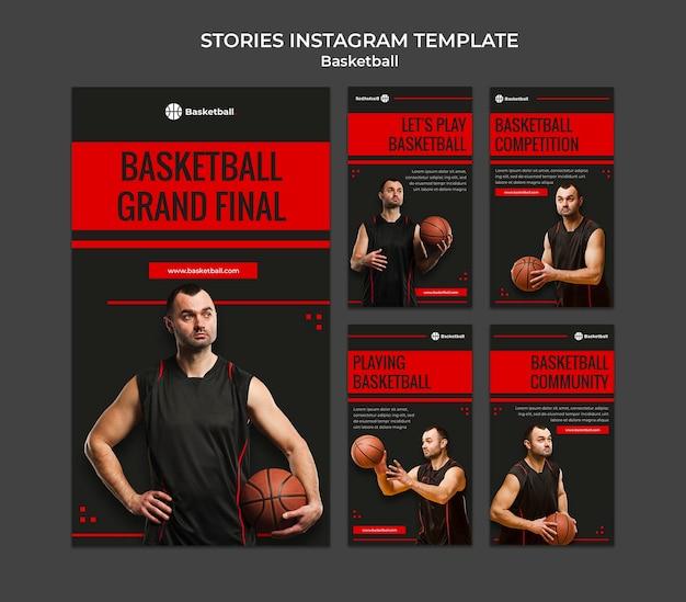 Coleção de histórias do instagram para jogo de basquete com jogador