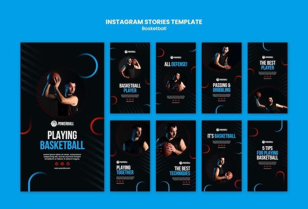 Coleção de histórias do instagram para jogos de basquete