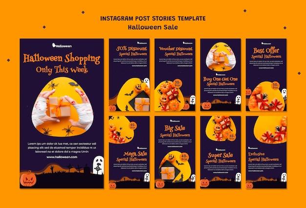 Coleção de histórias do instagram para liquidação de halloween