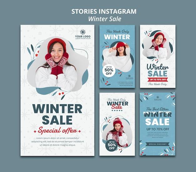 Coleção de histórias do instagram para liquidação de inverno