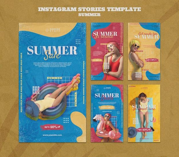 Coleção de histórias do instagram para liquidação de verão com mulher