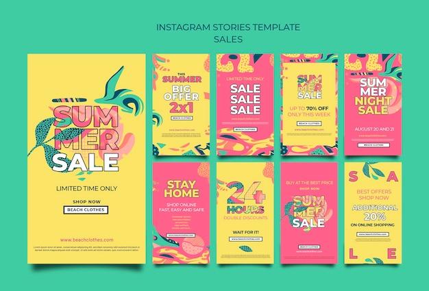 Coleção de histórias do instagram para liquidação de verão