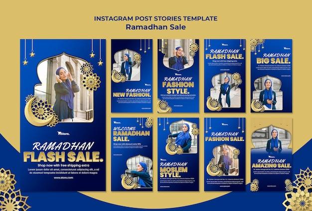 Coleção de histórias do instagram para liquidação no ramadã