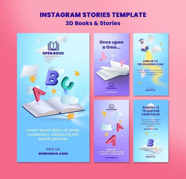 Coleção de histórias do instagram para livros com histórias e cartas
