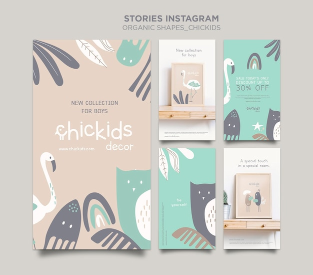 Coleção de histórias do instagram para loja de decoração de interiores infantil