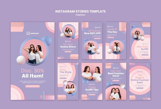 Coleção de histórias do instagram para loja de varejo de moda