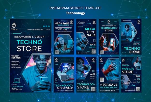 Coleção de histórias do instagram para loja techno