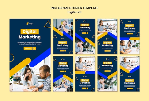 Coleção de histórias do instagram para marketing digital