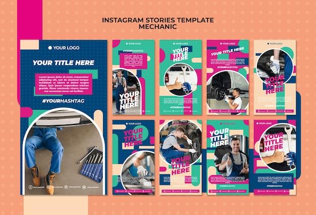 Coleção de histórias do instagram para mecânico