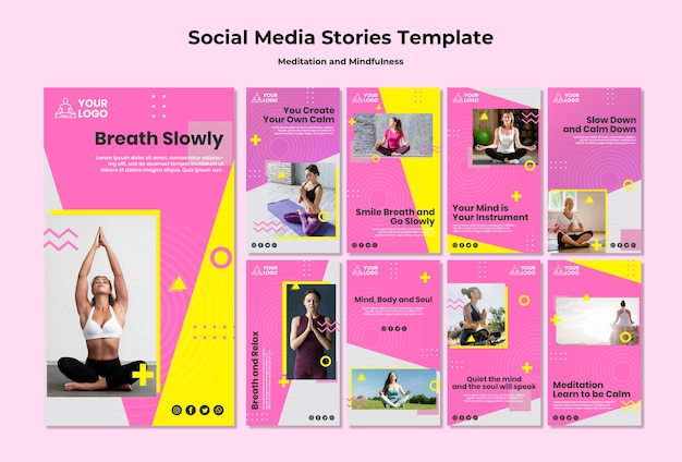 Coleção de histórias do instagram para meditação e atenção plena