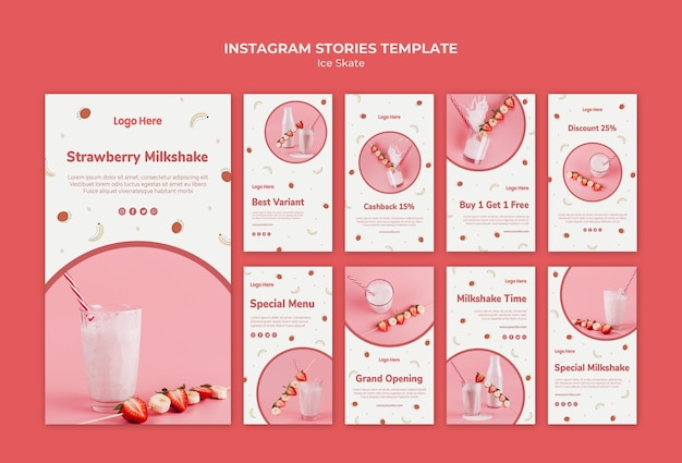Coleção de histórias do instagram para milkshake de morango
