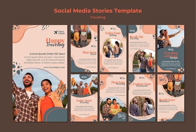 Coleção de histórias do instagram para mochileiros viajando com casal