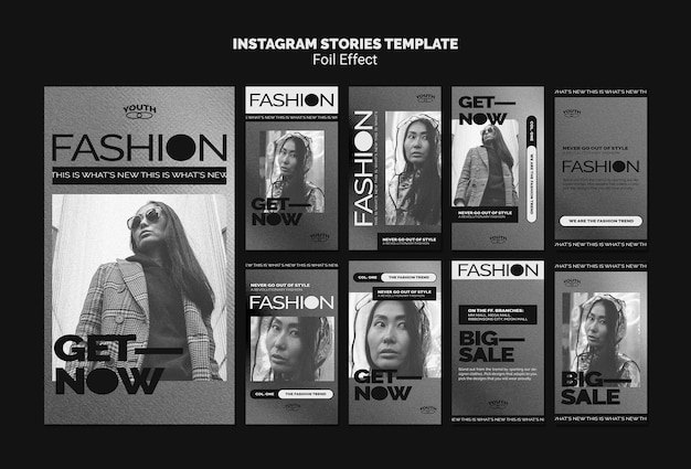Coleção de histórias do instagram para moda com efeito folha