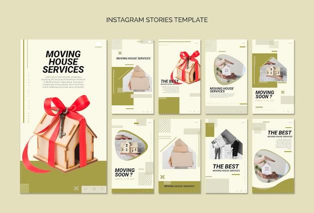 Coleção de histórias do instagram para mudar de casa