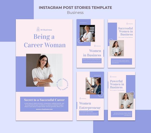 Coleção de histórias do instagram para mulheres nos negócios