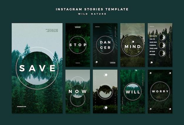 Coleção de histórias do instagram para natureza selvagem