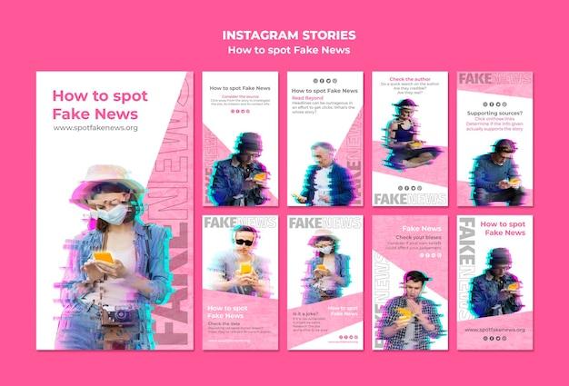 Coleção de histórias do instagram para notícias falsas