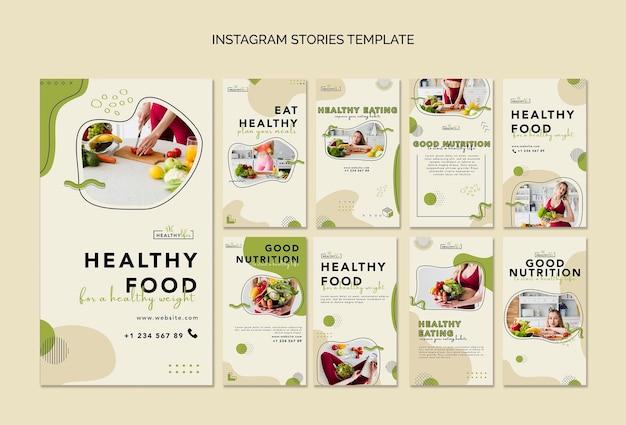 Coleção de histórias do instagram para nutrição saudável