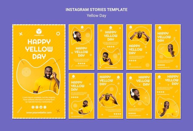 Coleção de histórias do instagram para o dia amarelo