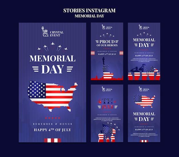 Coleção de histórias do instagram para o dia do memorial dos eua