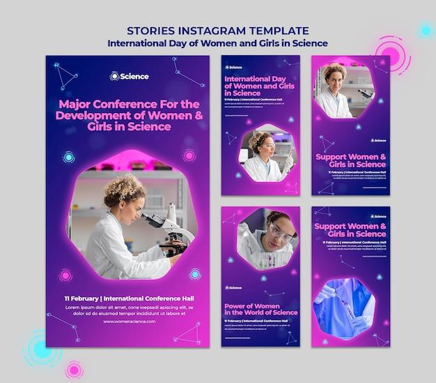 Coleção de histórias do instagram para o dia internacional de mulheres e meninas em celebração científica com cientista