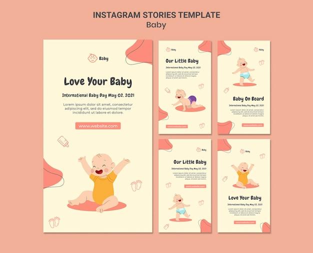 Coleção de histórias do instagram para o dia internacional do bebê