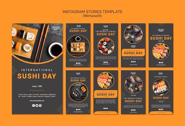 Coleção de histórias do instagram para o dia internacional do sushi