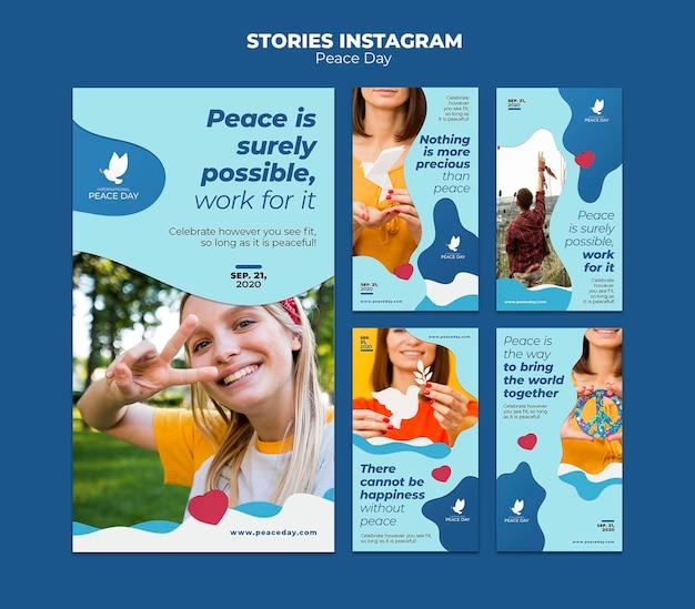 Coleção de histórias do instagram para o dia mundial da paz