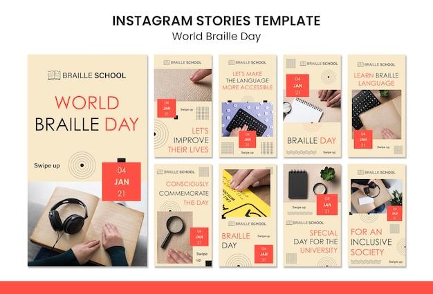 Coleção de histórias do instagram para o dia mundial do braille
