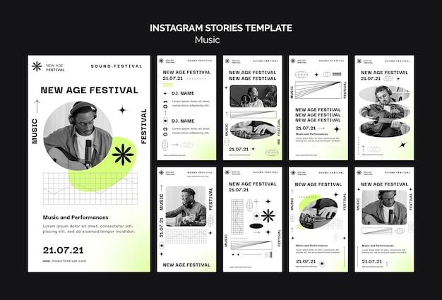 Coleção de histórias do instagram para o festival de música new age