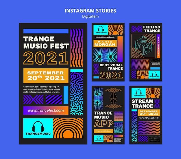 Coleção de histórias do instagram para o festival de música trance de 2021