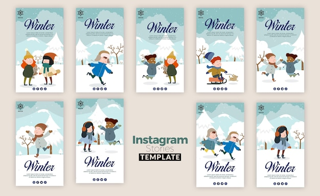 Coleção de histórias do instagram para o inverno com crianças