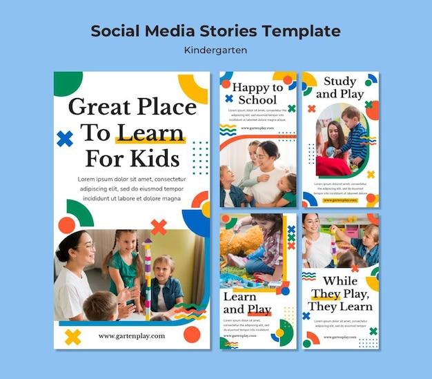 Coleção de histórias do instagram para o jardim de infância com crianças