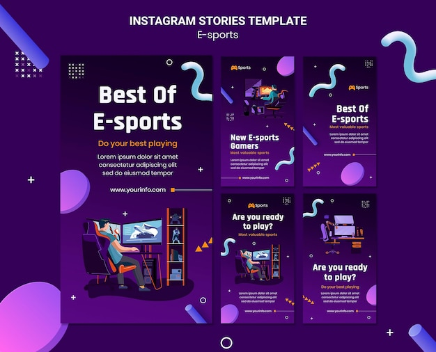 Coleção de histórias do instagram para o melhor dos e-sports