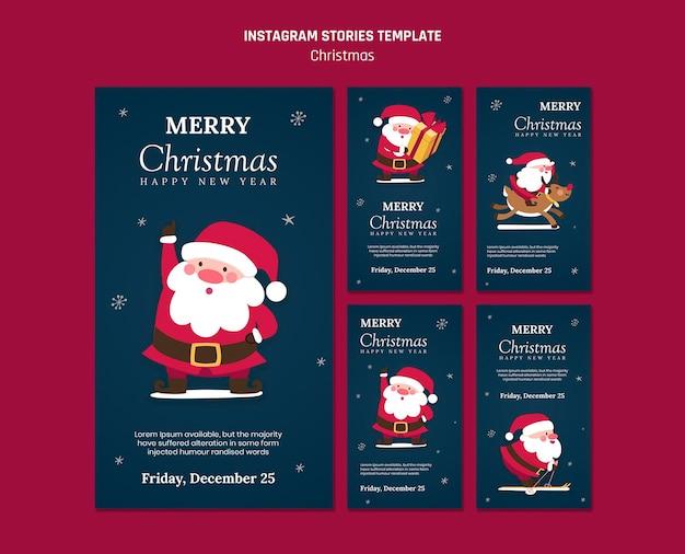 Coleção de histórias do instagram para o natal com o papai noel